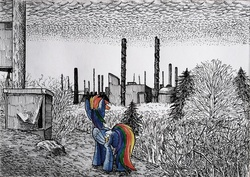 Size: 1938x1370 | Tagged: safe, artist:smellslikebeer, rainbow dash, abandoned, bygone civilization, chimney, crosshatch, factory, female, folded wings, ink, looking away, partial color, pollution, rear view, scenery, smoke, smoke stack, solo, traditional art