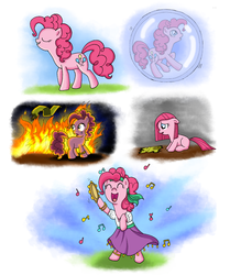 Size: 1000x1197 | Tagged: safe, artist:fimlie, pinkie pie, friendship is witchcraft, female, filly, fire, gypsy bard, gypsy pie, music notes, romani, sad, solo, song in the comments