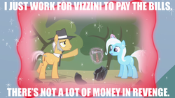 Size: 1280x720 | Tagged: safe, igneous rock pie, trixie, earth pony, pony, unicorn, magic duel, female, glowing horn, hammer, horn, image macro, impact font, inigo montoya, levitation, magic, magic aura, male, mare, meme, stallion, telekinesis, the princess bride, trixivision, vizzini