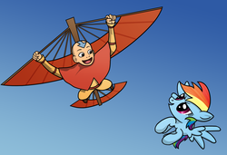 Size: 2063x1414 | Tagged: aang, artist:10art1, avatar the last airbender, crossover, flying, rainbow dash, safe