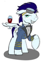 Size: 1024x1365 | Tagged: artist:taharon, clothes, safe, soarin', solo, uniform, wine, wing hands