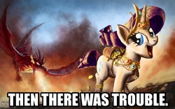 Size: 900x563 | Tagged: safe, artist:moe, edit, basil, rarity, dragon, bits, fire, fire breath, flying, gem, image macro, jewelry, looking back, open mouth, parody, smiling, smoke, spread wings, text, text edit, thomas the tank engine, wahaha