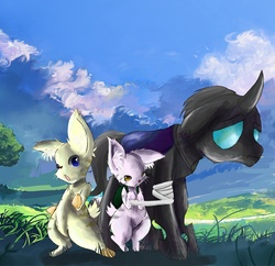 Size: 4000x3870 | Tagged: safe, artist:owlvortex, changeling, idw, bandage, cute citizens of wuvy-dovey land, innocent kitten