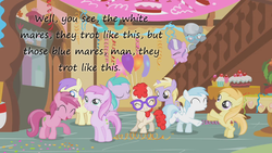 Size: 1280x720 | Tagged: safe, edit, edited screencap, screencap, alula, applecore, aura (character), cotton cloudy, diamond tiara, dinky hooves, noi, piña colada, pluto, princess erroria, ruby pinch, silver spoon, twist, earth pony, pegasus, pony, unicorn, call of the cutie, 4chan, aurabetes, awwplecore, background pony, balloon, confetti, coronet clover, cottonbetes, cute, cuteceañera, dancing, dinkabetes, filly, foal, frown, glasses, insane pony thread, noiabetes, pinchybetes, piña cutelada, smiling, streamers, twistabetes