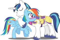 Size: 2720x1802 | Tagged: safe, artist:trotsworth, rainbow dash, shining armor, pegasus, pony, unicorn, armor, blushing, cross-eyed, eyes closed, female, hug, male, shining armor gets all the mares, shiningdash, shipping, simple background, smiling, spread wings, straight, transparent background, vector, wingboner