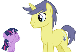 Size: 1024x705 | Tagged: safe, artist:3d4d, comet tail, twilight sparkle, alicorn, pony, cometlight, female, filly, help, male, shipping, straight, twilight sparkle (alicorn)