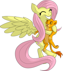 Size: 1776x2000 | Tagged: safe, artist:xonxt, fluttershy, big cat, lion, crossover, disney, hug, simba, the lion king