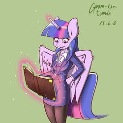 Size: 1280x1280 | Tagged: safe, artist:garam, twilight sparkle, anthro, book, clothes, female, hand on hip, magic, pantyhose, simple background, skirt, skirt suit, solo, stockings, suit, sweater vest, telekinesis, tube skirt, twilight sparkle (alicorn)