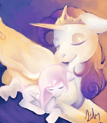Size: 654x750 | Tagged: safe, artist:lilypaints, princess celestia, oc, oc:queen galaxia, alicorn, pony, alicorn oc, celestia and luna's mother, female, filly, mother and child, mother and daughter, parent