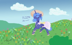 Size: 1425x900 | Tagged: safe, artist:lunarapologist, princess luna, alternate hairstyle, choker, clothes, dress, eyes closed, flower, hat, katrina and the waves, meadow, messy mane, open mouth, s1 luna, sandals, singing, smiling, solo, sundress, trotting, walking on sunshine