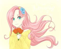 Size: 893x718 | Tagged: safe, artist:sonicat62, fluttershy, human, bust, clothes, cute, eye clipping through hair, female, flower, humanized, shyabetes, solo, sweater, sweatershy