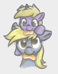 Size: 530x676 | Tagged: safe, artist:onkelscrut, derpy hooves, dinky hooves, pegasus, pony, unicorn, cute, dinky riding derpy, duo, duo female, eating, equestria's best mother, female, filly, food, herbivore, mare, mouth hold, nom, orange, ponies riding ponies, pony hat, riding, simple background, smiling, tangerine