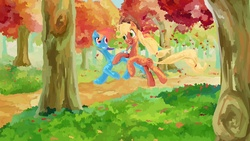 Size: 1920x1080 | Tagged: safe, artist:my-magic-dream, applejack, rainbow dash, autumn, leaves, running, running of the leaves, tree