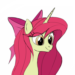 Size: 1000x1000 | Tagged: alicorn, alicornified, alternate hairstyle, apple bloom, artist:a-leksey, bloomicorn, older, pony, race swap, safe, sketch, solo, unicorn