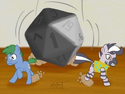 Size: 903x680 | Tagged: safe, artist:phallen1, oc, oc only, oc:fetchbeer, oc:software patch, earth pony, pony, zebra, clothes, d20, dice, dungeons and dragons, duo, figurine, gaming miniature, glasses, male, miniature, shirt, stallion