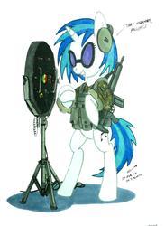 Size: 1280x1747   Tagged: safe, artist:buckweiser, dj pon-3, vinyl scratch, pony, bass cannon, bipedal, g3ka4, gun, h&k g3, heckler and koch, lrad, military, rifle, solo, weapon
