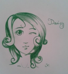 Size: 480x521 | Tagged: artist:kikberry, daisy, flower wishes, humanized, safe, solo, traditional art