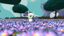 Size: 1920x1080 | Tagged: 3d, artist:juicedane, flower, outdoors, pony, rarity, safe, smiling, solo, source filmmaker, unicorn