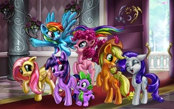 Size: 2000x1255 | Tagged: safe, artist:harwick, applejack, fluttershy, pinkie pie, rainbow dash, rarity, spike, twilight sparkle, unicorn, canterlot, canterlot castle, mane seven, mane six, unicorn twilight