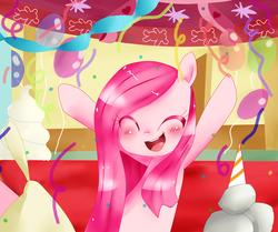 Size: 900x754 | Tagged: safe, artist:haruliina, madame leflour, pinkie pie, rocky, balloon, confetti, cute, cuteamena, diapinkes, female, happy, pinkamena diane pie, solo
