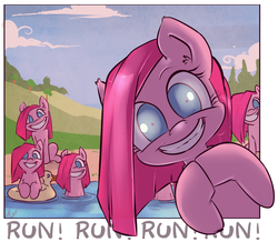 Size: 1200x1048   Tagged: safe, artist:atryl, pinkie pie, earth pony, pony, too many pinkie pies, adoracreepy, clone, creepy, creepy smile, cute, cuteamena, diapinkes, female, floaty, fourth wall, fun fun fun, grimcute, grin, insanity, looking at you, mare, multeity, nightmare fuel, pinkamena diane pie, pinkie clone, rapeface, run, shrunken pupils, slasher smile, smiling, the fourth wall cannot save you, this will end in cupcakes, this will end in death, this will end in tears, this will end in tears and/or death, too many pinkamenas, too much pink energy is dangerous, wide eyes, xk-class end-of-the-world scenario
