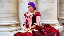 Size: 700x394 | Tagged: safe, artist:rose0fmay, rarity, human, clothes, cosplay, dress, gala dress, irl, irl human, photo, solo