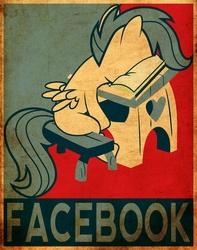 Size: 4109x5206 | Tagged: safe, artist:fr3zo, artist:fsleg, scootaloo, absurd resolution, book, desk, facebook, facebooking, female, hope poster, poster, propaganda, pun, school, shepard fairey, solo
