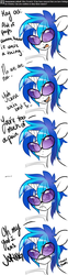 Size: 481x1952 | Tagged: safe, artist:lolopan, dj pon-3, vinyl scratch, comic, crying, cute, dub trot, glasses, implied octavia, tumblr, younger