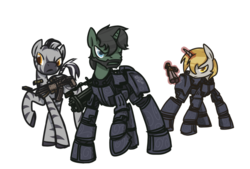 Size: 900x609 | Tagged: armor, artist:inlucidreverie, beard, fallout equestria, gun, magic, oc, oc only, pony, safe, simple background, telekinesis, transparent background, unicorn, zebra