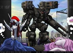 Size: 1600x1169 | Tagged: safe, artist:foxi-5, applejack, derpy hooves, fluttershy, princess celestia, princess luna, rainbow dash, rarity, twilight sparkle, oc, oc:fausticorn, oc:fluffle puff, alicorn, pony, artillery, female, giant robot, lauren faust, mare, mecha, ponified, twilight sparkle (alicorn)