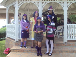 Size: 1280x960 | Tagged: artist needed, safe, artist:chesiregirl, artist:rhetoricalgamer, twilight sparkle, human, sweet and elite, birthday dress, clothes, cosplay, costume, dress, future twilight, group photo, irl, irl human, oni-con, photo, rule 63