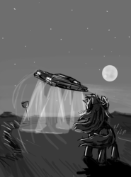 Size: 800x1080 | Tagged: artist:agm, black and white, car, earth pony, grayscale, highway, moon, night, pony, road, road sign, safe