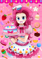 Size: 555x783 | Tagged: artist:gimiga, cake, clothes, dress, gala dress, humanized, pink, pinkie pie, safe, solo