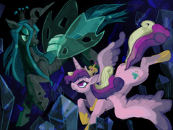 Size: 860x645 | Tagged: artist:derples, artist:skypup, cave, crystal, falling, princess cadance, queen chrysalis, safe