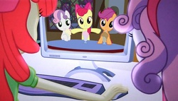 Size: 1256x720 | Tagged: safe, edit, edited screencap, screencap, apple bloom, scootaloo, sweetie belle, equestria girls, equestria girls (movie), one bad apple, computer, cutie mark crusaders, human ponidox, meme, milkshake, the crusaders browse the internet
