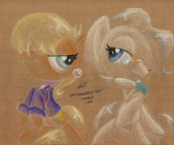 Size: 1045x871 | Tagged: safe, artist:getchanoodlewet, mayor mare, ms. harshwhinny, earth pony, pony, duo, duo female, female, mare, mayorwhinny, rearing, traditional art