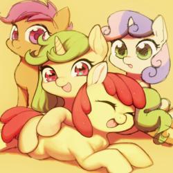 Size: 600x600   Tagged: safe, artist:aruurara, apple bloom, scootaloo, sweetie belle, oc, oc:apple rare, pony, cutie mark crusaders