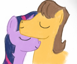 Size: 800x667 | Tagged: safe, artist:tggeko, caramel, twilight sparkle, caralight, eyes closed, female, male, neck nuzzle, nuzzling, shipping, smiling, straight