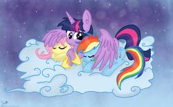 Size: 2504x1556   Tagged: safe, artist:daisy-dictator, fluttershy, rainbow dash, twilight sparkle, alicorn, pony, female, flutterdash, flutterdashlight, hug, lesbian, mare, shipping, sleeping, snuggling, twidash, twilight sparkle (alicorn), twishy, winghug