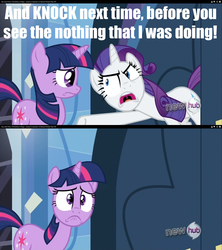 Size: 1280x1440 | Tagged: safe, edit, edited screencap, screencap, rarity, twilight sparkle, games ponies play, hub logo, insulting rarity, jaden yuki, marik's evil council, meme, yugioh abridged