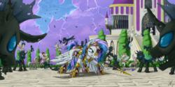 Size: 2000x1000 | Tagged: safe, artist:1jaz, oc, oc:blitzstar, changeling, pegasus, pony, armor, army, battlefield, canterlot, epic, fight, guardsmare, royal guard, shield, spear, weapon