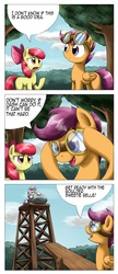 Size: 1372x3179 | Tagged: safe, artist:otakuap, apple bloom, scootaloo, sweetie belle, earth pony, pegasus, pony, unicorn, comic, cutie mark crusaders, female, filly, goggles, scootaloo can't fly, this will end in tears, this will end in tears and/or death, this will end in tears and/or death and/or covered in tree sap, tree sap and pine needles