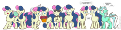 Size: 1280x324 | Tagged: safe, artist:egophiliac, bon bon, lyra heartstrings, sweetie drops, earth pony, pony, unicorn, slice of pony life, bon bon is not amused, bon bond, bonpun, bowtie, dialogue, eyes closed, female, floppy ears, flower, harem, hat, hilarious in hindsight, ice cream, james bond, lidded eyes, line-up, mare, mare of a thousand voices, mirror pool, mouth hold, multeity, open mouth, question mark, raised hoof, simple background, smiling, speech bubble, sunglasses, transparent background