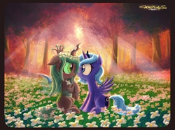 Size: 2036x1510 | Tagged: safe, artist:walliscolours, princess luna, queen chrysalis, alicorn, changeling, nymph, pony, :o, backlighting, blushing, chrysaluna, crepuscular rays, cute, cutealis, eye contact, female, filly, first contact, floppy ears, floral head wreath, flower, flower in hair, forest, lesbian, meadow, shipping, sitting, spread wings, sunset, tree, wide eyes, woona, younger