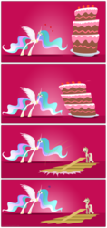 Size: 2037x4308   Tagged: safe, artist:grievousfan, applejack, princess celestia, ..., :t, angry, cake, cakelestia, cardboard cutout, celestia is not amused, comic, eyes on the prize, frown, glare, heart, heart eyes, impossibly long legs, liar face, liarjack, open mouth, portal (valve), reference, scrunchy face, smiling, spread wings, the cake is a lie, tongue out, unamused, wingboner, wingding eyes