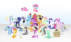 Size: 4800x2850 | Tagged: safe, artist:thecheeseburger, apple bloom, applejack, berry punch, berryshine, bon bon, carrot top, derpy hooves, dj pon-3, doctor whooves, fluttershy, golden harvest, lyra heartstrings, minuette, octavia melody, pinkie pie, princess cadance, princess celestia, princess luna, princess skyla, rainbow dash, rarity, scootaloo, shining armor, spike, sweetie belle, sweetie drops, time turner, twilight sparkle, vinyl scratch, alicorn, bat pony, bat pony alicorn, changeling, changepony, cyborg, donkey, genie, hybrid, pony, vampire, artificial wings, augmented, ballerina, bathrobe, bloodshot eyes, bondage, bored, box, cape, cardboard box, carrot, clothes, coffee, corrupted, costume, crown, cup, cutie mark crusaders, dentist, derp, drill, drink, embarrassed, evil, face mask, facehoof, female, floating, geniefied, glasses, goggles, group shot, gypsy pie, hippie, insanity, lazy, madame pinkie, magic, mane seven, mane six, mare, mechanical wing, mug, ninja, offspring, peace sign, peace symbol, queen, rich, robe, romani, scroll, shenanigans, skirt, snaplestia, species swap, straitjacket, super saiyan, swirly glasses, telekinesis, throne, tired, twilight sparkle (alicorn), upside down, usurpation, wet mane, wings, yay