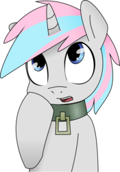 Size: 7441x10627 | Tagged: absurd res, artist:grumblepluck, artist:knoeki, collar, edit, female, knoeki, oc, oc:knoeki, oc only, pony, recolor, safe, simple background, solo, transparent background, unicorn, vector