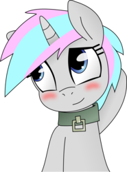 Size: 6686x9036 | Tagged: absurd res, artist:grumblepluck, artist:knoeki, blushing, collar, edit, female, knoeki, oc, oc:knoeki, oc only, pony, recolor, safe, simple background, solo, transparent background, unicorn, vector