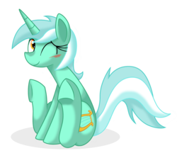 Size: 1460x1259   Tagged: artist needed, source needed, safe, lyra heartstrings, pony, unicorn, blushing, cute, hooves, simple background, sitting, smiling, solo, transparent background, underhoof, wink