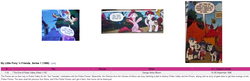 Size: 1645x530   Tagged: safe, artist:andypriceart, idw, big macintosh, cookie crumbles, hondo flanks, pinkie pie, rainbow dash, rarity, wild fire, bee, earth pony, pegasus, pony, unicorn, spoiler:comic, spoiler:comic09, andy you magnificent bastard, cookieflanks, g1, g1 to g4, generation leap, mind blown, parent, rarity's parents, sunstone (g1 artifact), wikipedia
